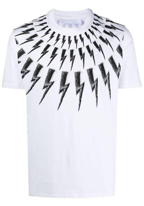 Neil Barrett t-shirt thunderbolt uomo white black NEIL BARRETT | T-shirt | PBJT883SQ516S526