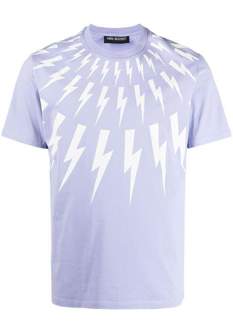 Neil barrett t-shirt thunderbolt uomo lilac white NEIL BARRETT | T-shirt | PBJT890SQ509S3123