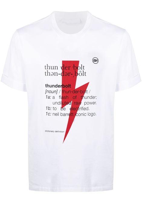 Neil Barrett t-shirt con stampa thunderbolt uomo white NEIL BARRETT | T-shirt | PBJT897SQ514S1116