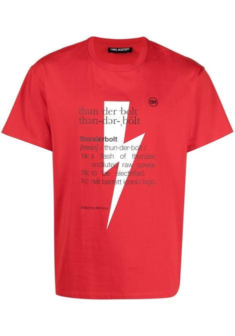 Neil barrett t-shirt thunderbolt uomo red white black NEIL BARRETT | T-shirt | PBJT898SQ514S1134
