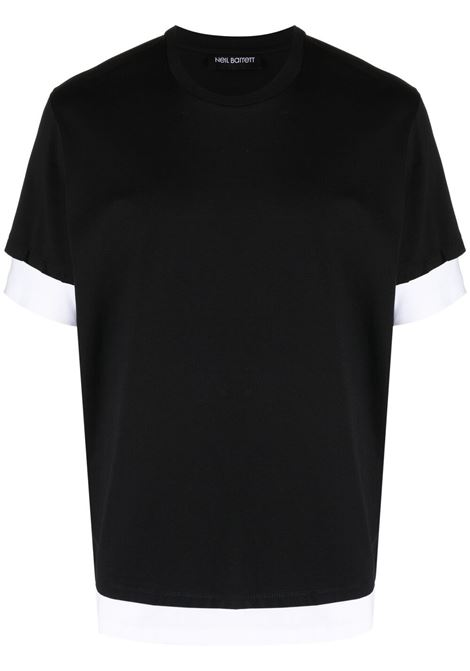 Neil Barrett t-shirt bicolore uomo black white NEIL BARRETT | T-shirt | PBJT907Q518S2866