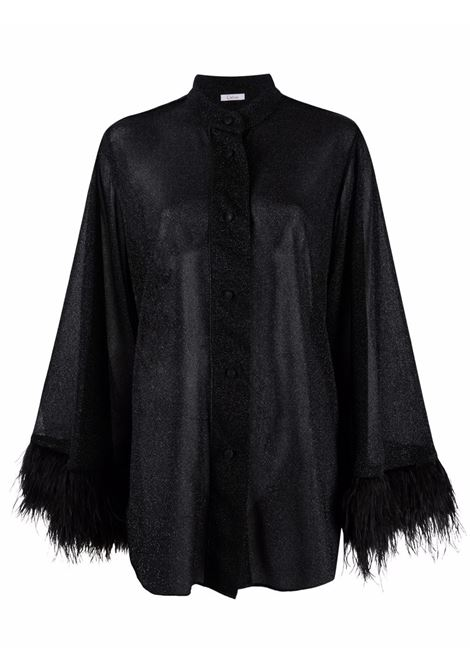 Lumiere blouse with feathers in black- women  OSÉREE | LSF213BLK