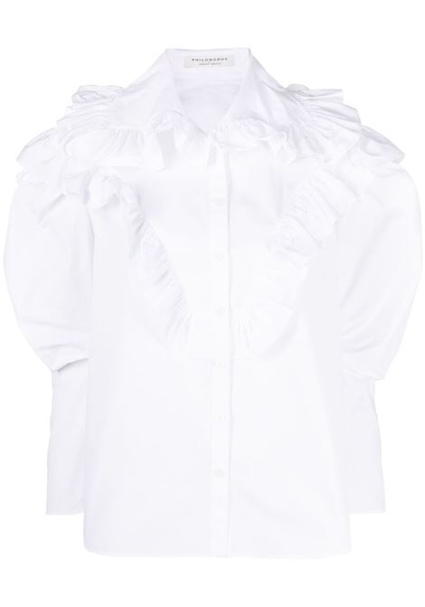 Philosophy Di Lorenzo Serafini camicia con decorazione donna bianco PHILOSOPHY DI LORENZO SERAFINI | Camicie | A020821191