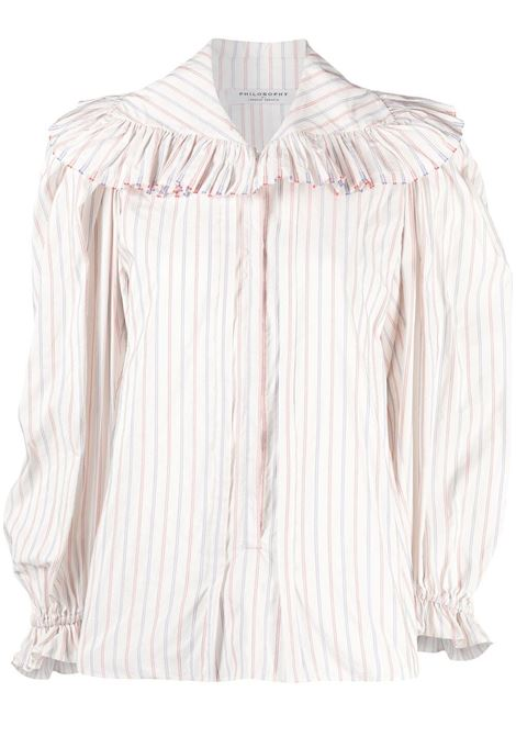 Striped-ruffle shirt