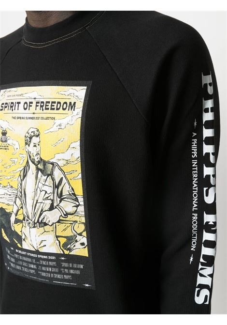 Phipps graphic-print sweatshirt men washed black PHIPPS | PHSS21N021J001WSHDBLK