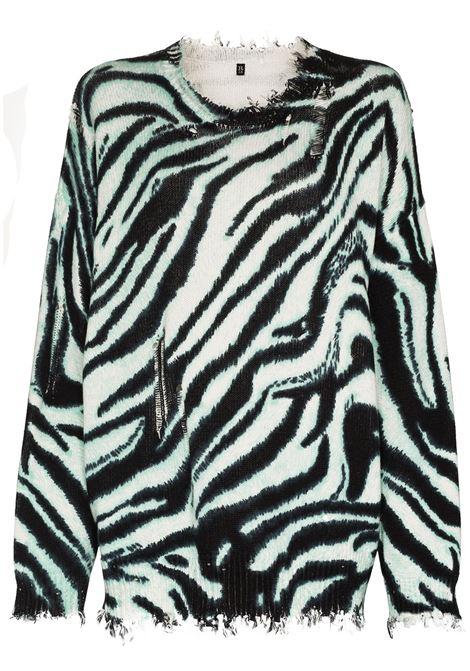 R13 felpa con stampa donna blue zebra R13 | Felpe | R13W936555499AZ