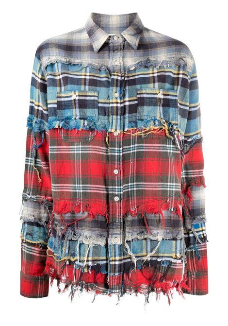 R13 giacca con effetto vissuto donna blue plaid R13 | Camicie | R13W9430BGR499