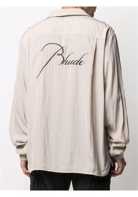 Rhude shirt men tan navy RHUDE | RHPS21LS000000050355