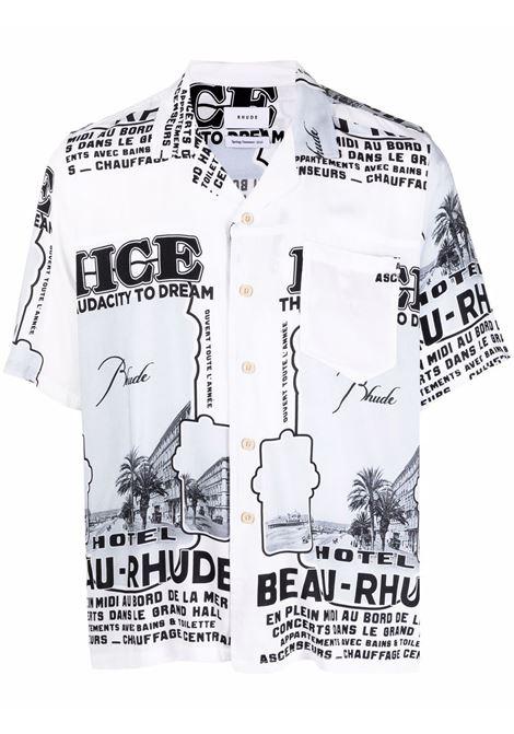 Camicia con stampa grafica nero e bianco- uomo RHUDE | Camicie | RHPS21SS000000050128