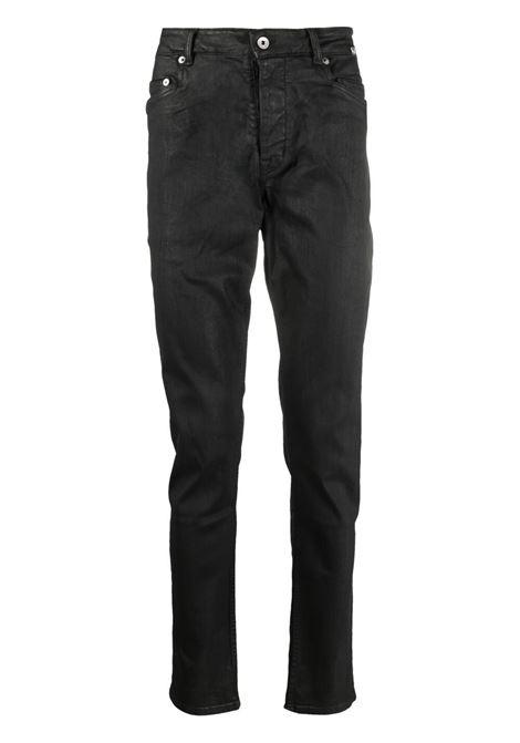 Wax-coated slim jeans in black - men RICK OWENS DRKSHDW | Jeans | DU21S2364SBW99