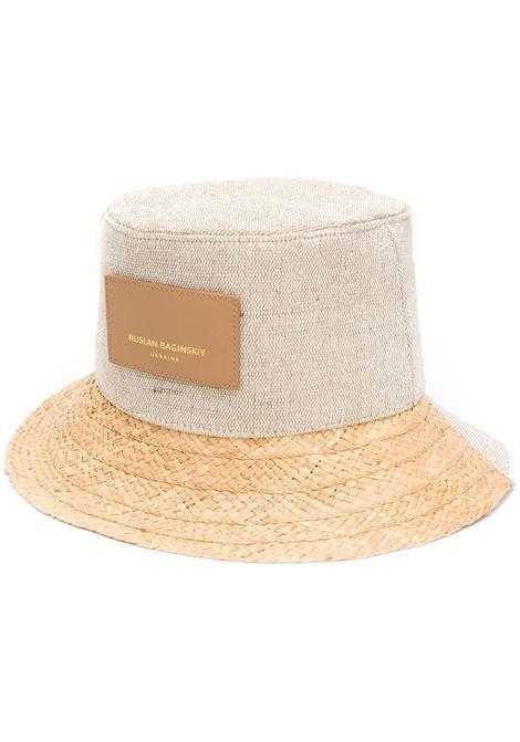 Ruslan Baginskiy cappello bucket donna beige natural straw RUSLAN BAGINSKIY | Cappelli | BCT036STRBGNTRLSTRW