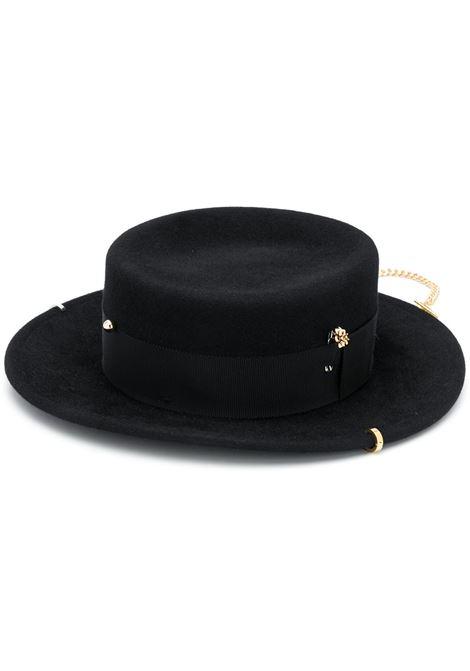 Ruslan Baginskiy cappello con catena donna black RUSLAN BAGINSKIY | Cappelli | CNT033FPRSBLK