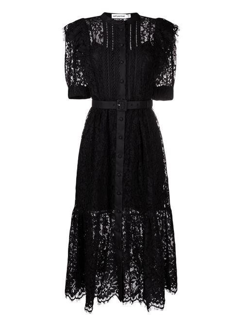 Short-sleeve floral-lace midi dress SELF-PORTRAIT | Dresses | SS21003MBLK