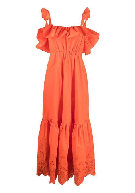 Broderie-anglaise ruffled dress orange - women SELF-PORTRAIT | Dresses | SS21103ORNG