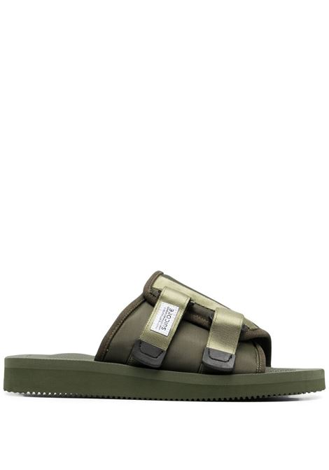 Suicoke touch-strap flat slides men olive SUICOKE | Slides | OG081CAB115