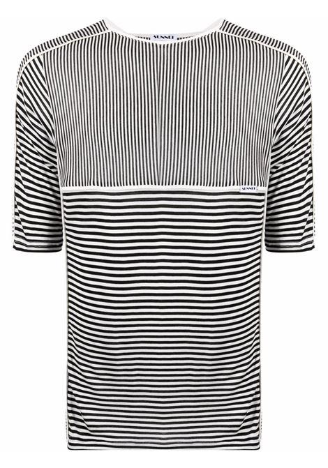 Sunnei t-shirt illusion unisex white black SUNNEI | T-shirt | SN1SXH07BPJR010R05