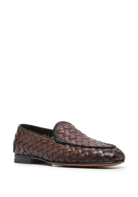 Santoni men woven-design loafers dark brown SANTONI | MCNC17021LA3SHCHT60