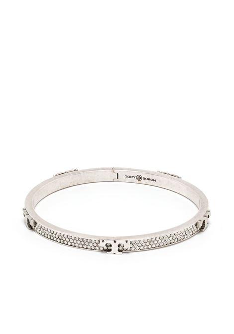 Tory Burch bracciale serif-t donna worn tory silver crystal TORY BURCH | Bracciali | 76371020