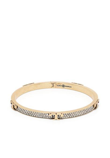 Tory Burch bracciale serif-t donna brass crystal TORY BURCH | Bracciali | 76371700