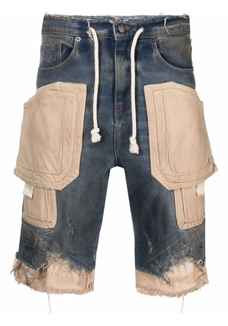 Mid-rise panelled bermuda shorts blue beige - men VAL.KRISTOPHER | VKSS210071BLUSAN