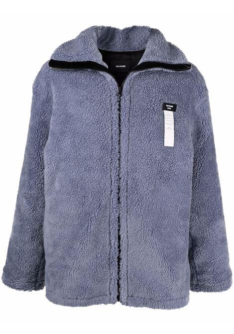 We11done logo sherpa jacket men blue WE11DONE | Outerwear | WDJP920052UBL
