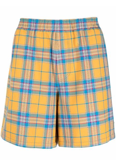 Plaid check-pattern button-up bermuda shorts mustard yellow - men WE11DONE | Bermuda Shorts | WDPT121247MMU