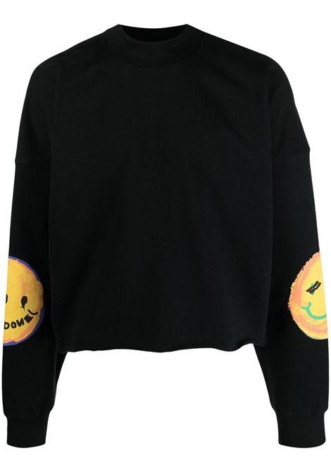 We11done flocked sweatshirt men black WE11DONE | Sweatshirts | WDTS021519BK