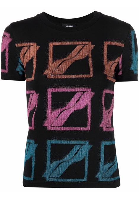 T-shirt con logo all-over in nero - donna WE11DONE | WDTT121523WBK