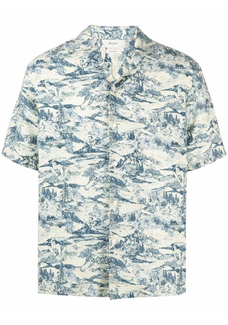 Graphic-print short-sleeved shirt multicolored pale green - men Z ZEGNA   Shirts   905280ZCOB2728