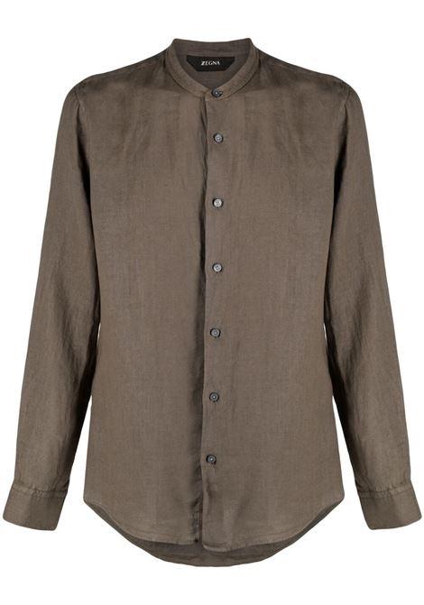 Z Zegna camicia con colletto alla coreana uomo tortora Z ZEGNA | Camicie | 905413ZCSG1332