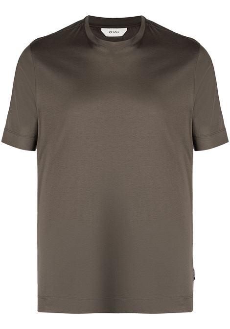 Crew-neck t-shirt khaki green- men Z ZEGNA | VW348ZZ641252
