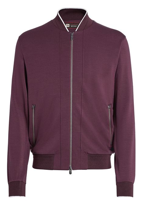 Bordeaux contrasting trim sweatshirt - men Z ZEGNA | VW475ZZT890602