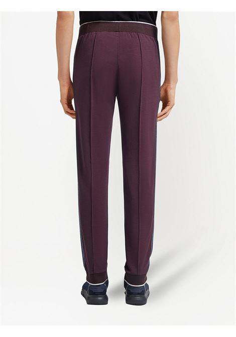 Burgundy side stripe track trousers - men Z ZEGNA | VW475ZZTP90602