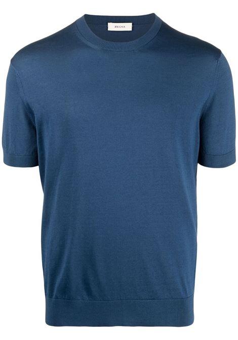 Z Zegna t-shirt con bordo a coste uomo blu Z ZEGNA | T-shirt | VWC11ZZ112452