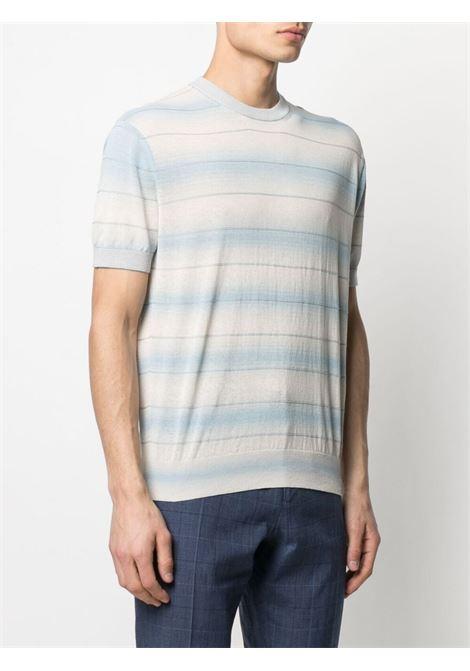 Striped T-shirt crew-neck t-shirt light-blue cream - men Z ZEGNA | VWR10ZZ112561