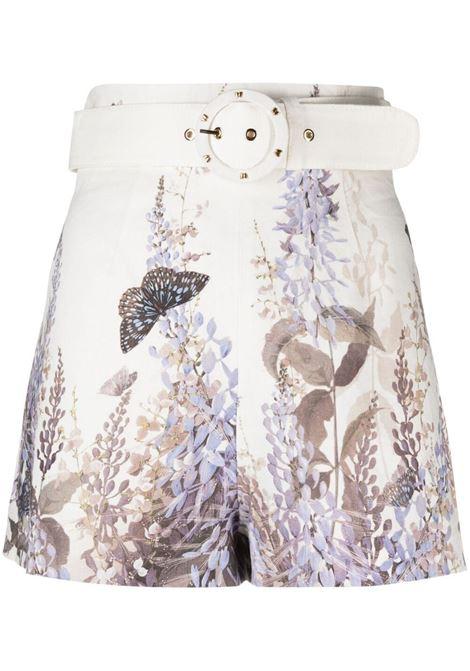 Shorts a fiori con cintura bianco avorio - donna ZIMMERMANN | Shorts | 1286ALMIILAVTEA