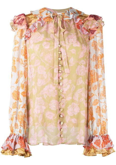 Zimmermann blusa the love struck donna mixed roses ZIMMERMANN | Bluse | 9950TANDMIXRS