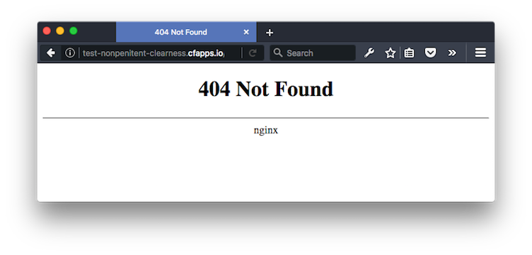 Default NGINX 404 Page (in all of its glory)