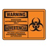Warning Biohazard Sign, 7 x 10In, BK/ORN