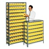 Bin Shelving, Solid, 36X24, 60 Bins, Yellow