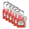 Lockout Padlock, Fiberglass, Red, PK 6