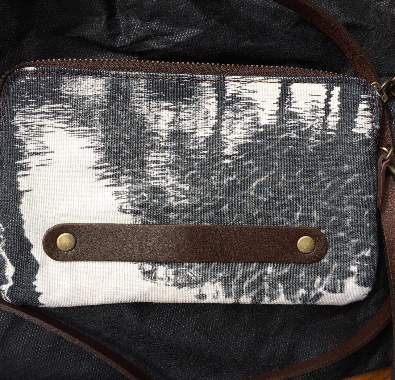Charcoal - designer clutch bag back view.