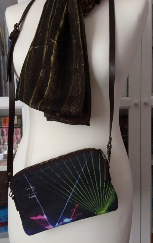 Lost Line long modal scarf worn with Disco Tech clutch bag