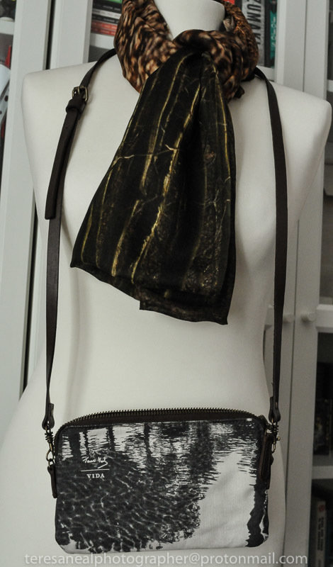 Lost Line long modal scarf worn with Charcoal clutch bag