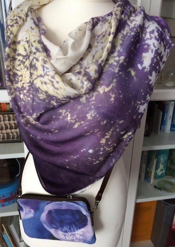 Purple Haze square modal scarf worn with Foxglove clutch bag