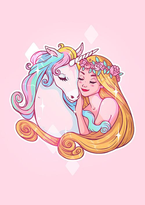 """Открытка """"Принцесса с единорогом"""""""