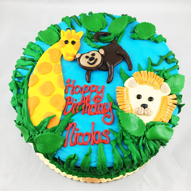 Phenomenal Jungle Birthday Cake Personalised Birthday Cards Bromeletsinfo