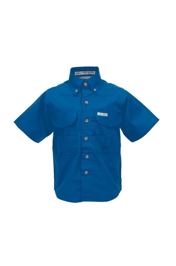 Tiger Hill Childrens Royal Blue Fishing Shirt Short Sleeves