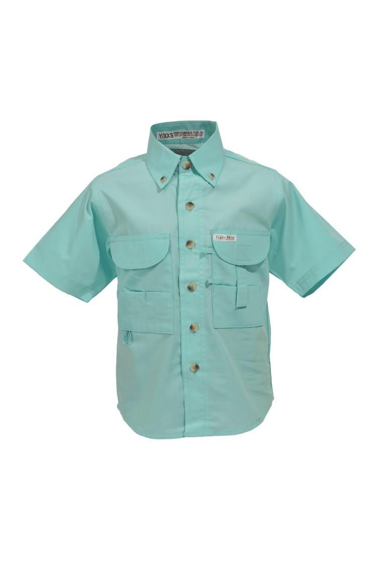 Tiger Hill Childrens Seafoam Fishing Shirt Short Sleeves