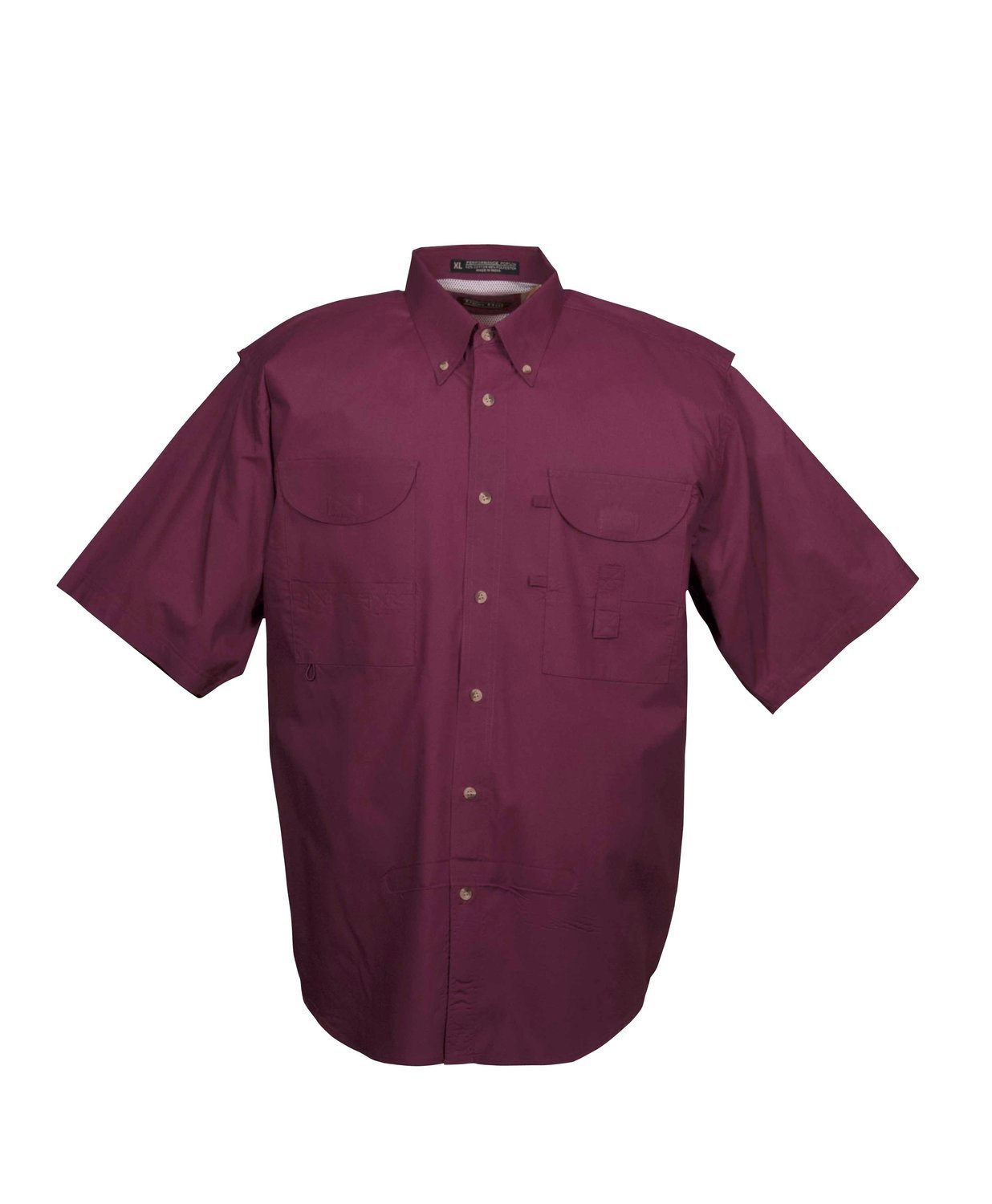 Tiger Hill Men's Fishing Shirt Short Sleeves Maroon